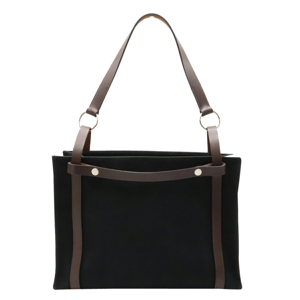 Pre-owned Hermes Black/brown Canvas Leather Tote Bag