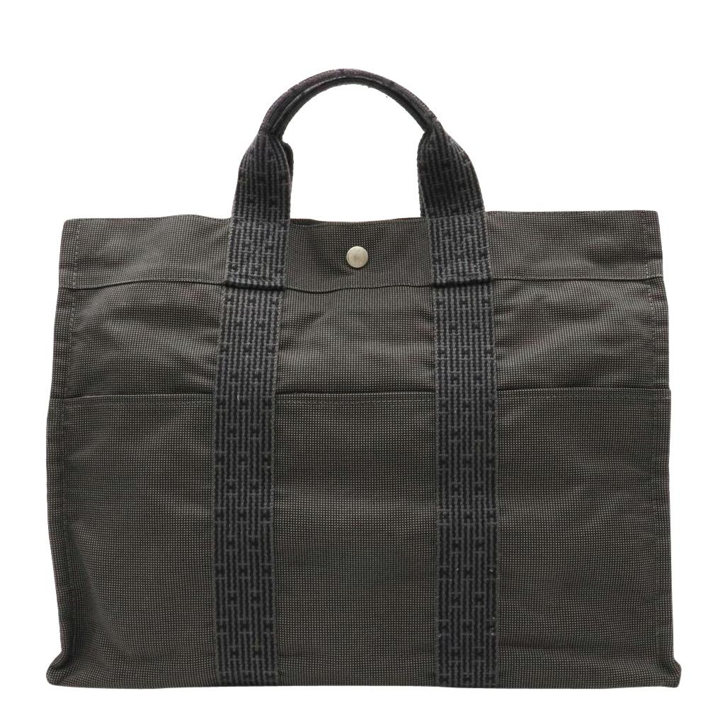 Pre-owned Hermes Black Canvas Herline Tote Bag
