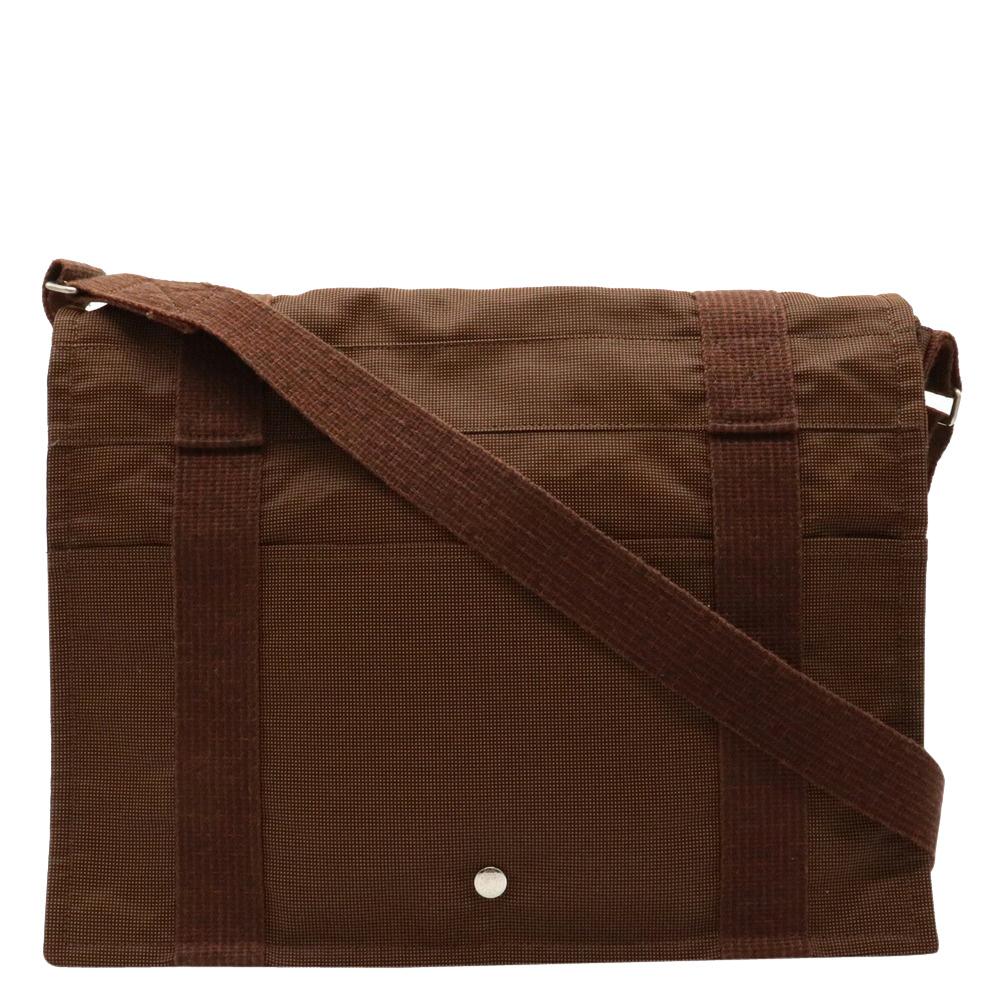 Pre-owned Hermes Brown Canvas Herline Shoulder Bag