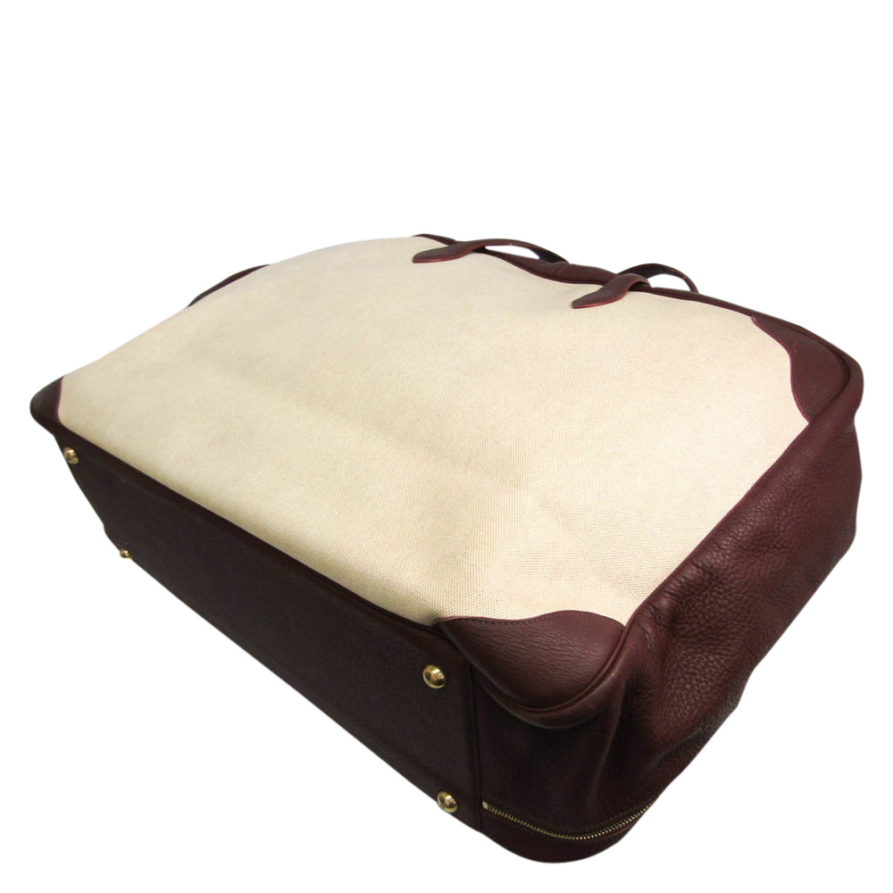 Hermes Beige Canvas Leather Victoria Travel Suitcases