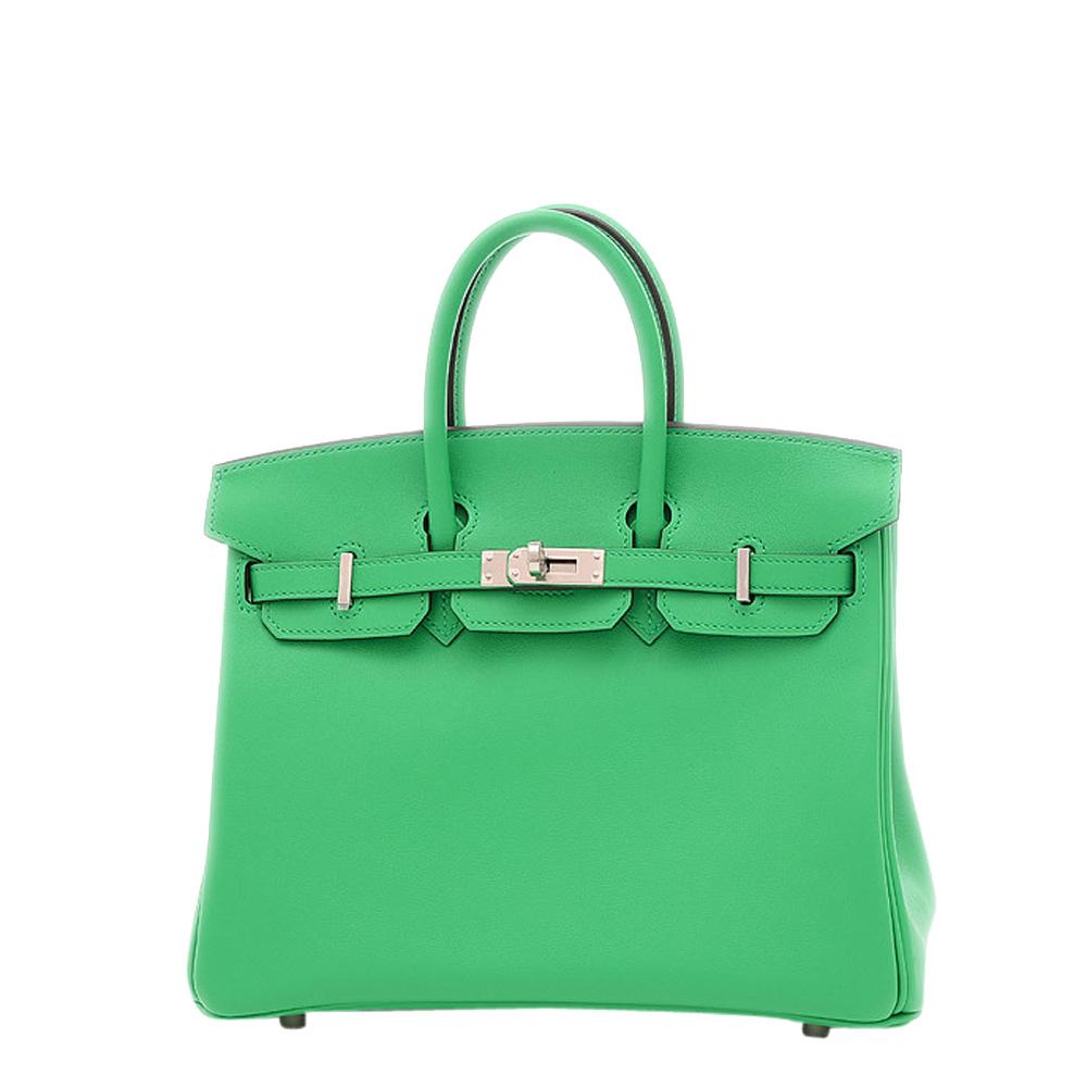 Pre-owned Hermes Mint Green Swift Leather Palladium Hardware Birkin 25 Bag