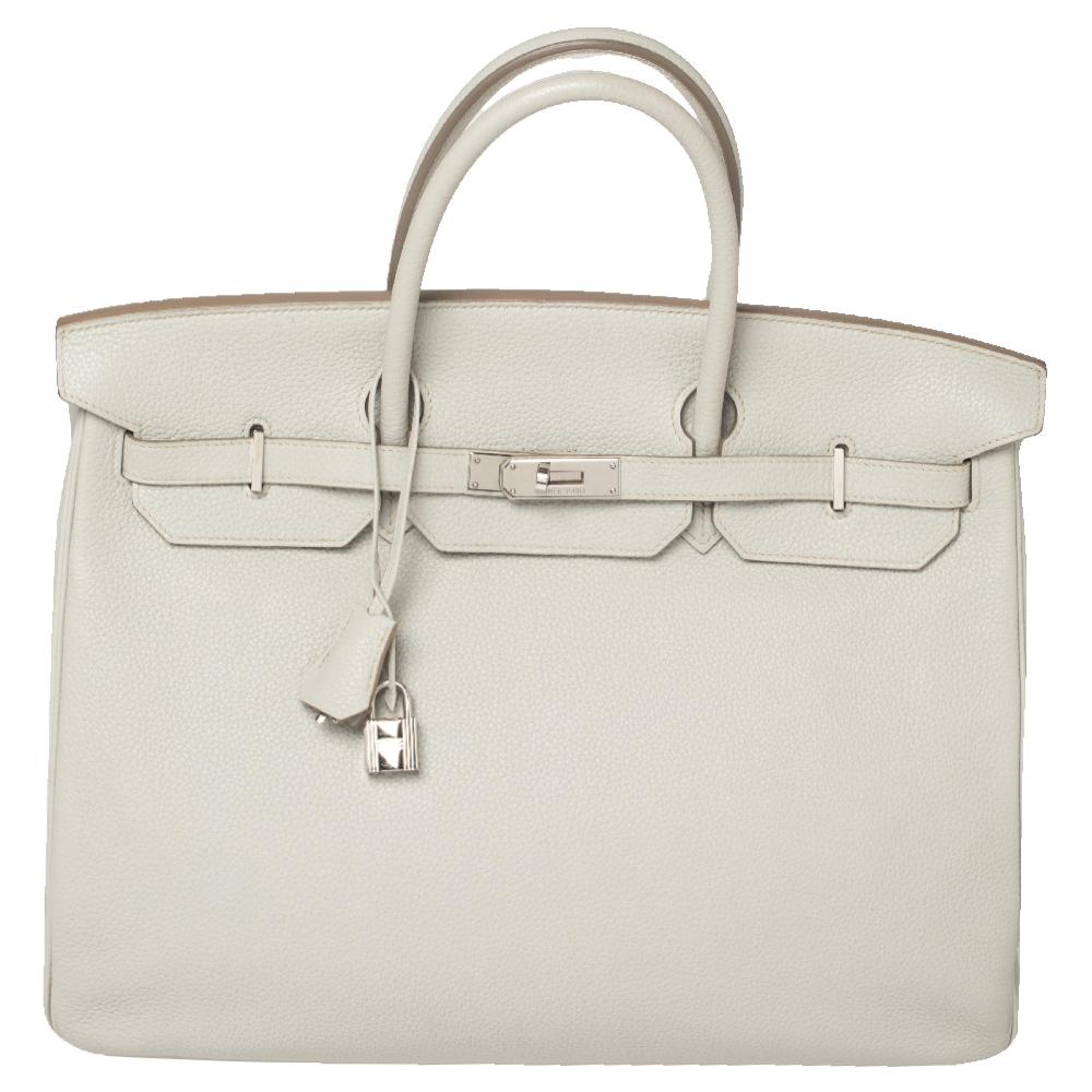 Pre-owned Hermes Hermès Gris Perle Togo Leather Palladium Finished Birkin 40 Bag In Grey
