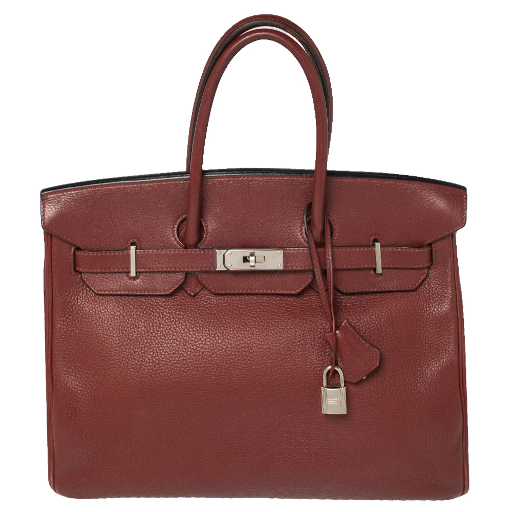 Pre-owned Hermes Rubis Togo Leather Palladium Finished Birkin 35 Bag In Red