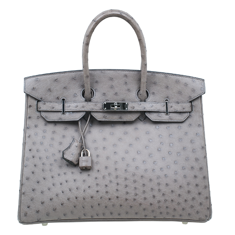 Hermes Grey Ostrich Leather Silver Hardware Birkin 35 Bag