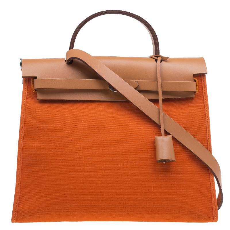 336fb22a5327 Buy Hermes Brown Orange Canvas and Leather Herbag Zip PM Bag 47441 ...