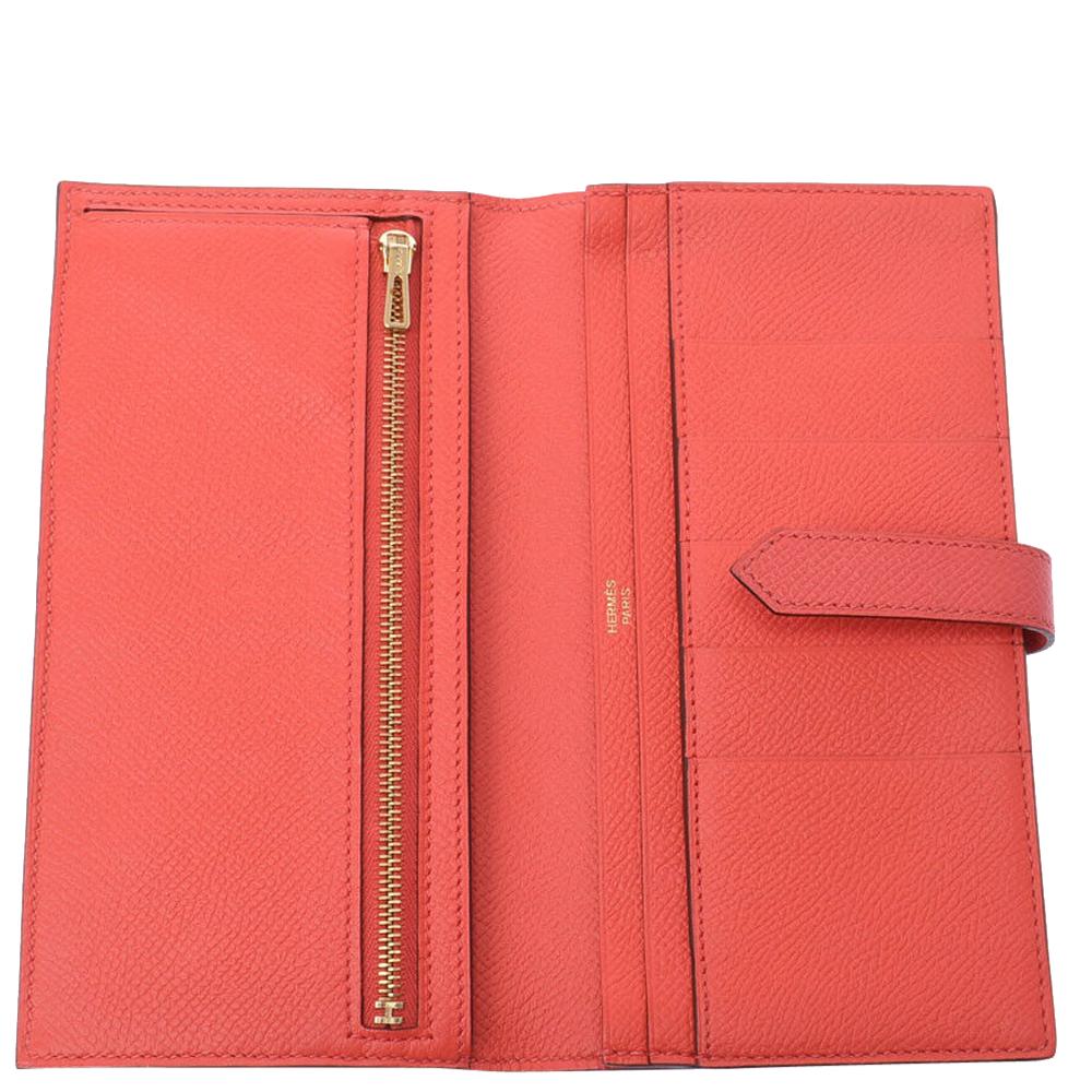 Hermes Pink Epsom Leather Souffle Rose Jaipur Bearn Wallet
