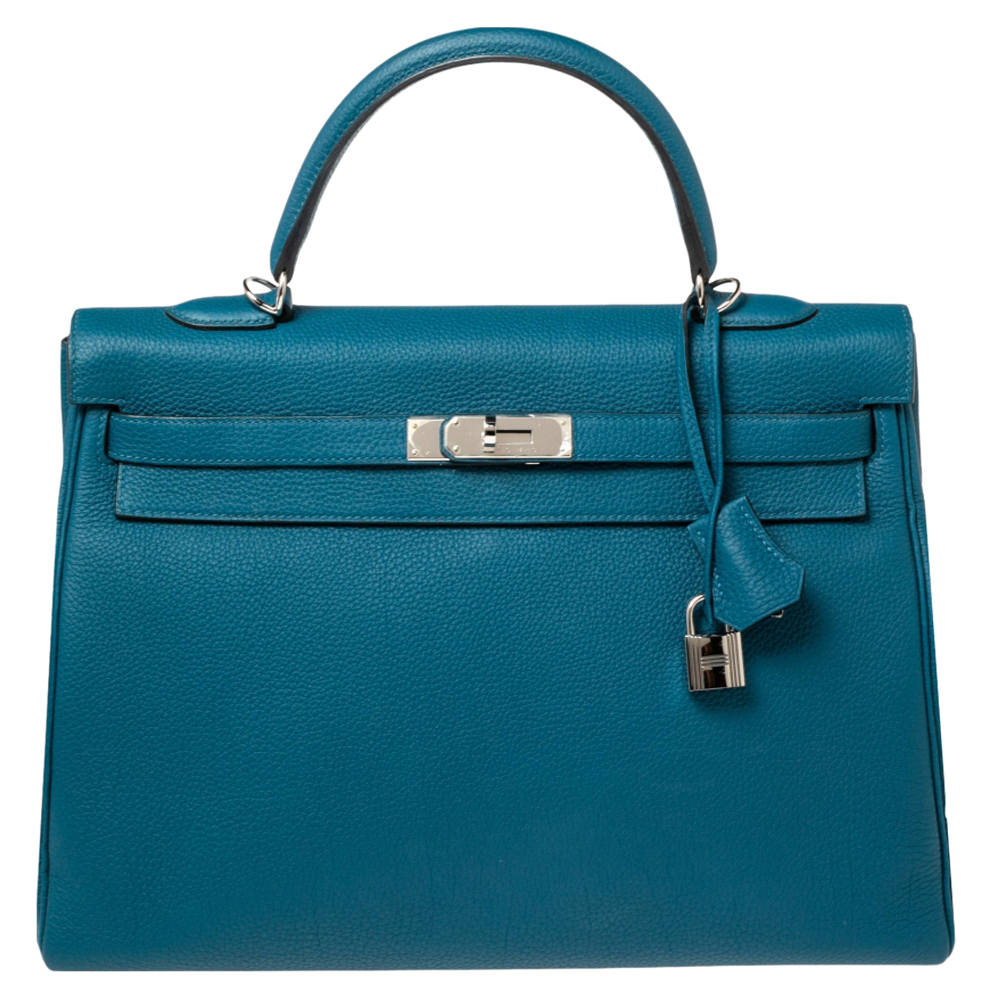 Pre-owned Hermes Cobalt Togo Leather Palladium Plated Kelly Retourne 35 Bag In Blue