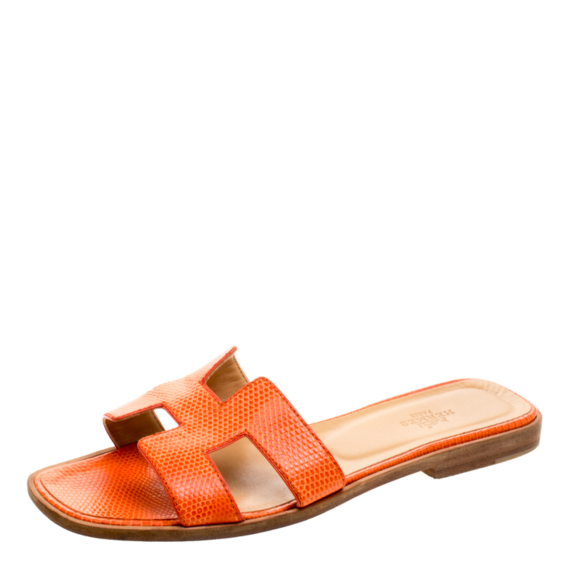 25d736e1a4a6 Buy Hermes Orange Lizard Leather Oran Box Sandals Size 38 119332 at ...