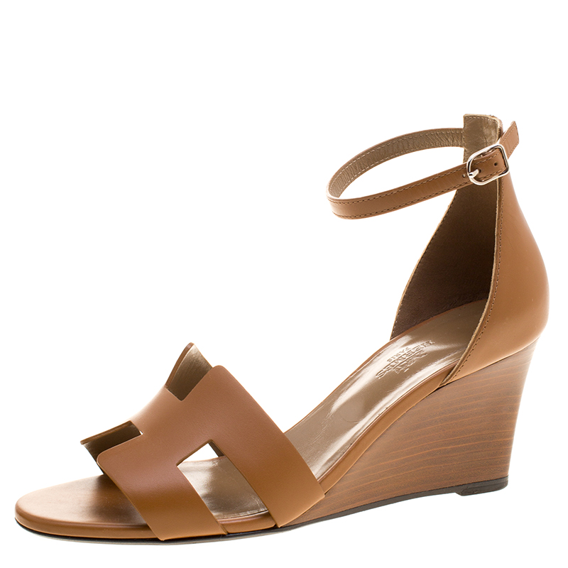 202e2ad1f05e ... Hermes Brown Leather Legend Ankle Strap Wedge Sandals Size 39.  nextprev. prevnext