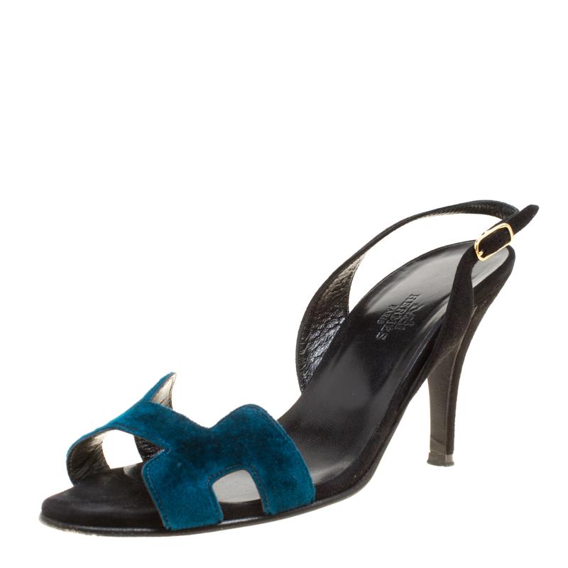 e884370153 Buy Hermes Blue Black Velvet and Suede Night Slingback Sandals Size ...