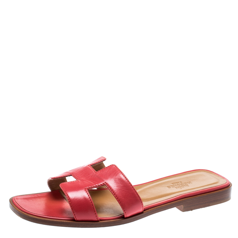 2c4e37be79a7 Buy Hermes Red Leather Oran Box Sandals Size 36 187362 at best price ...