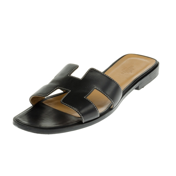 8cddc6751169 Buy Hermes Black Leather Oran Box Sandals Size 39 19565 at best ...