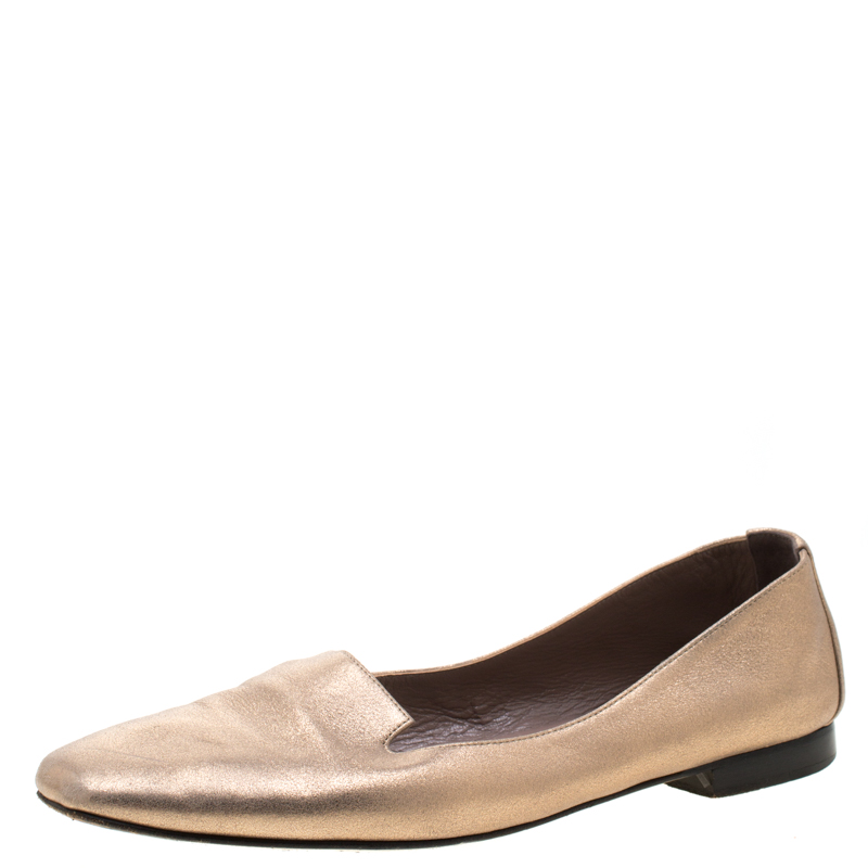 Hermes Metallic Gold Leather Smoking Slippers Size 38.5