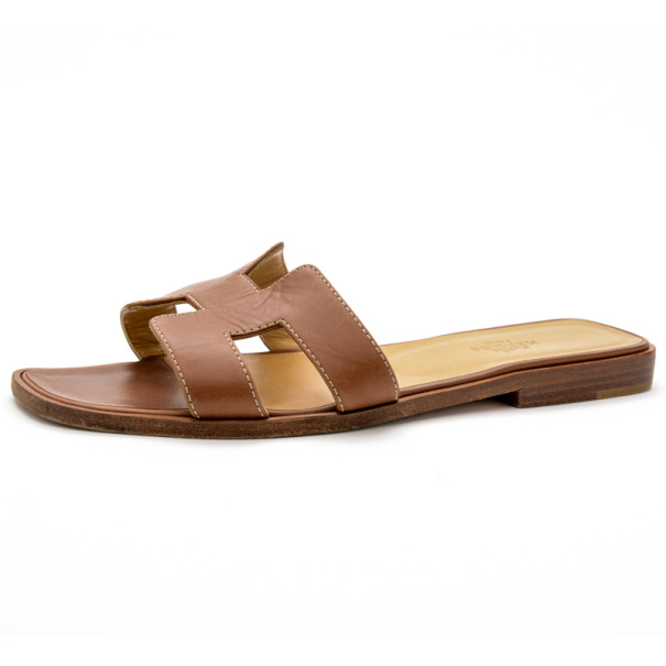 812afefc1e93 Buy Hermes Brown Leather Oran Box Leather Sandals Size 37 22817 at best  price