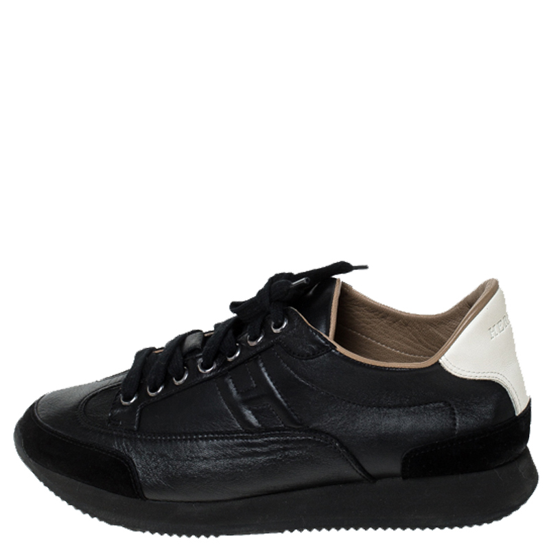 Hermes Black Leather And Suede Trail Sneakers Size