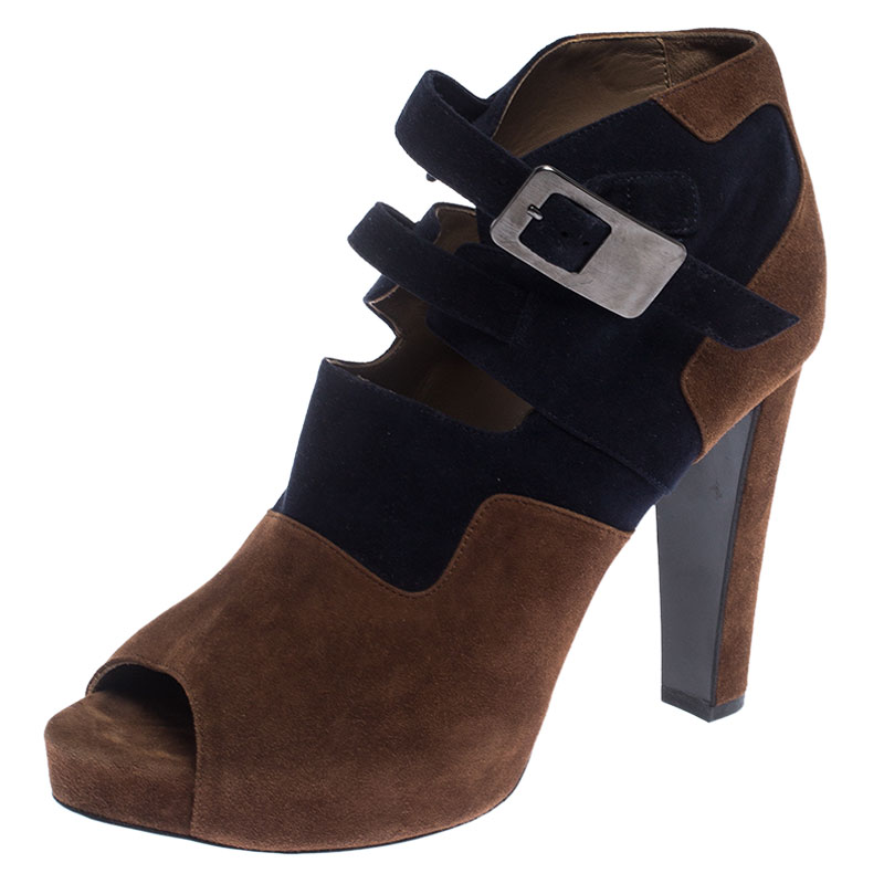 Hermes Blue/Brown Suede Double Ankle Strap Open Toe Booties Size 40