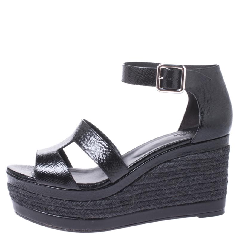 Hermes Noir Texturé Cuir Verni Ilana Espadrille Wedges Sandals Taille 40
