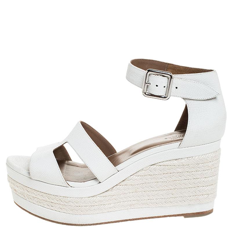 Hermes Blanc Texturé Cuir Ilana Espadrille Wedge Sandals Taille 39