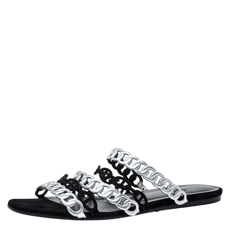 Hermes Metallic Silver Leather And Black Suede Chaine D'ancre Flat Sandals Size 40