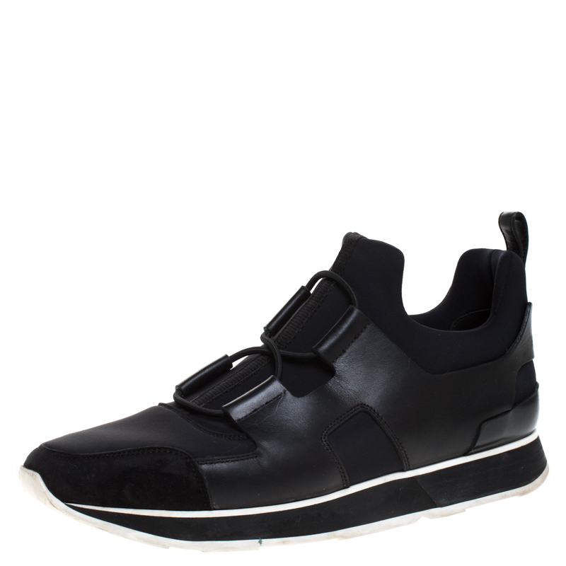 Hermes Black Fabric and Leather Player Sneakers Size 41