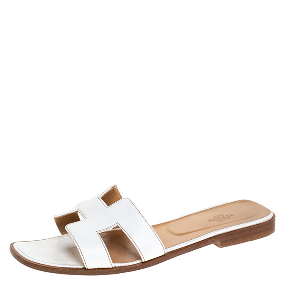 Hermes White Leather Oran Slide Sandals Size 40.5