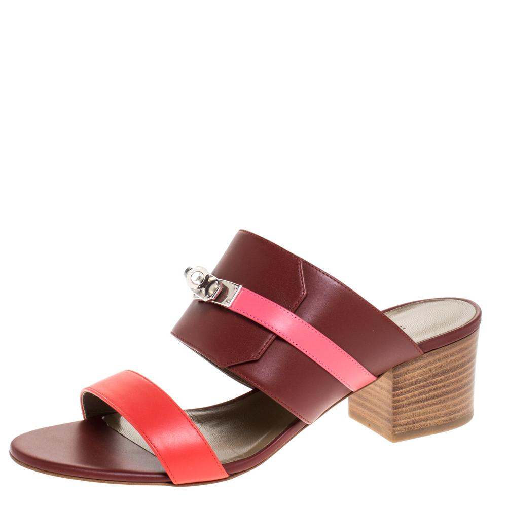 Hermes Tricolor Leather Ovation Slide Sandals Size 39