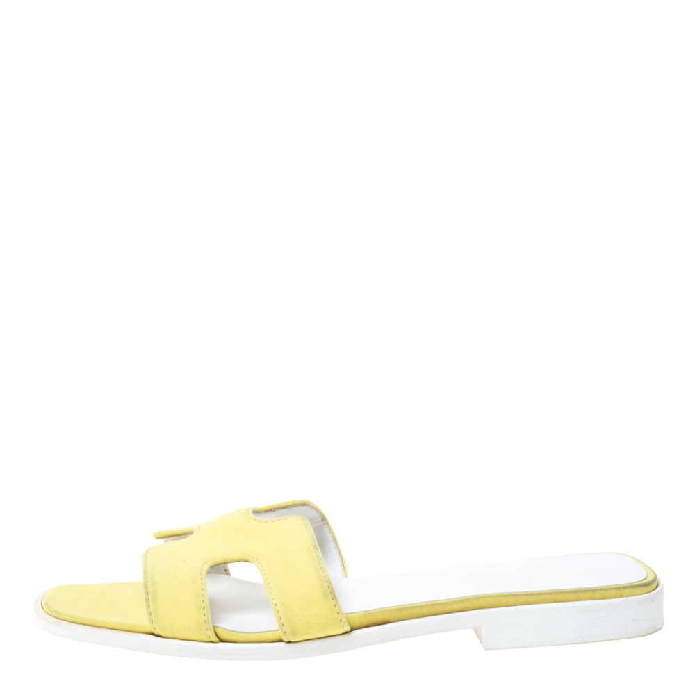 Hermes Yellow Fabric Oran Flat Sandals Size 37  - buy with discount