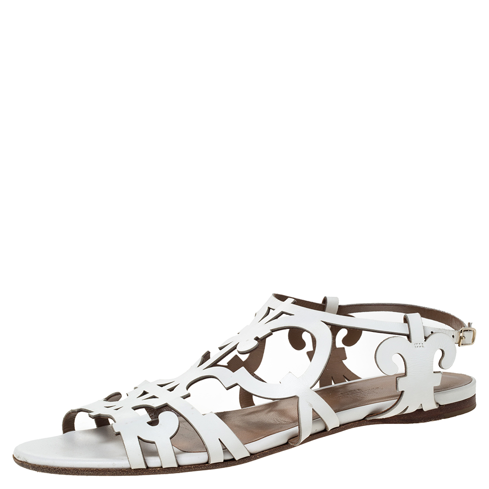 Hermes White Leather Karlotta Cut Out Flat Sandals Size 36