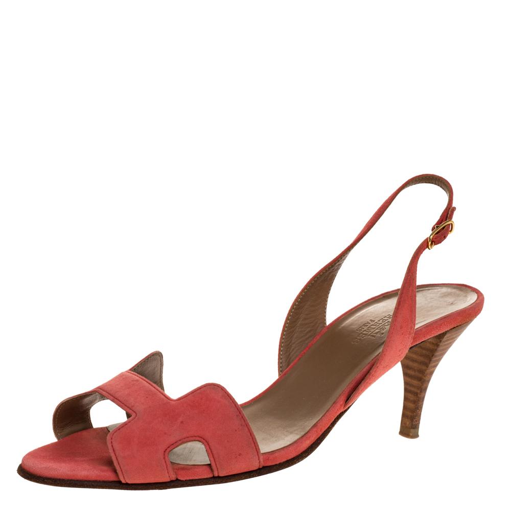 Hermes Pink Suede Night Slingback Sandals Size 39
