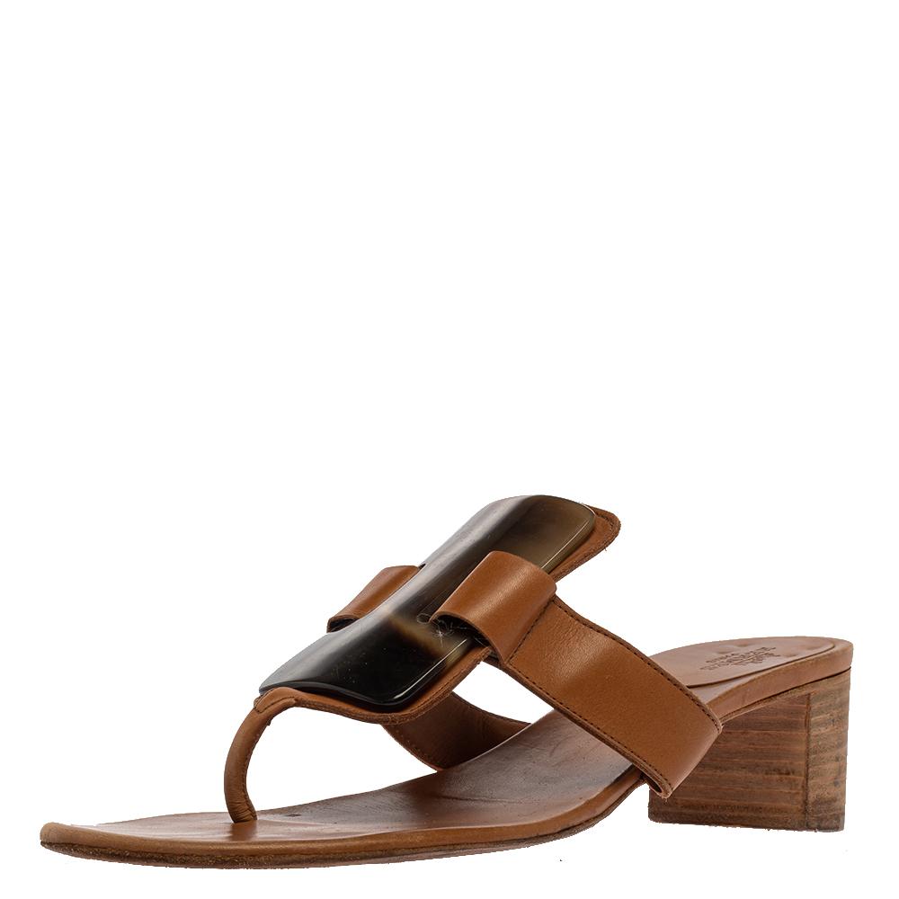 Hermes Brown Leather Embellished Thong Sandals Size 38.5
