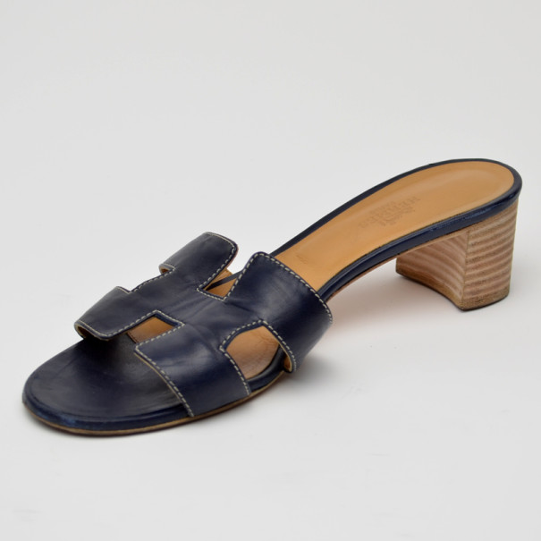 Hermes Navy Blue Oasis Sandals Size 38 by The Luxury Closet