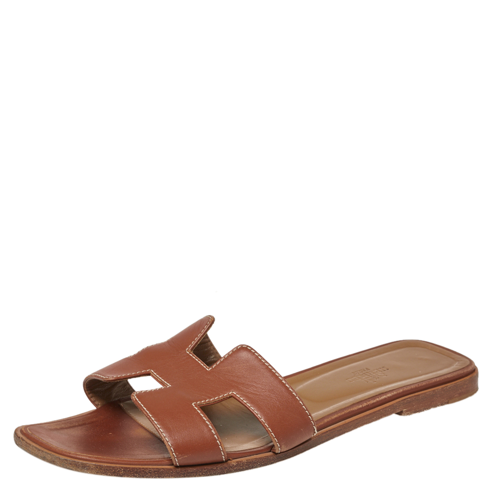 Pre-owned Hermes Tan Leather Oran Sandals Size 39.5
