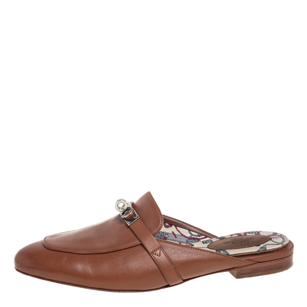 Hermes Brown Leather Kelly Mule Flats Size 39