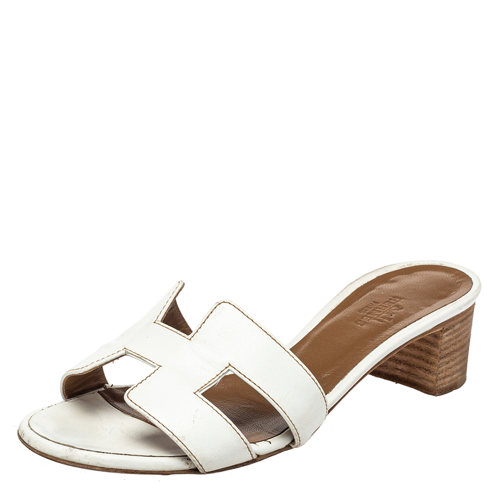 Pre-owned Hermes White Leather Oasis Slide Sandals Size 35