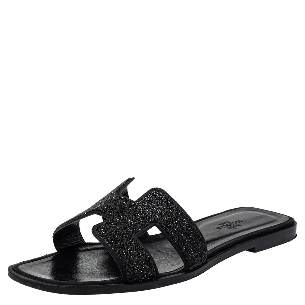 Pre-owned Hermes Hermés Black Glitter Oran Flats Sandals Size 39