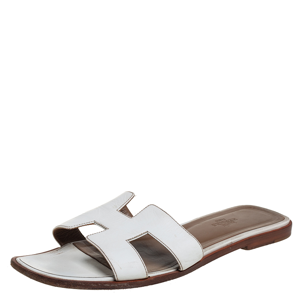 Pre-owned Hermes White Leather Oran Slide Sandals Size 40