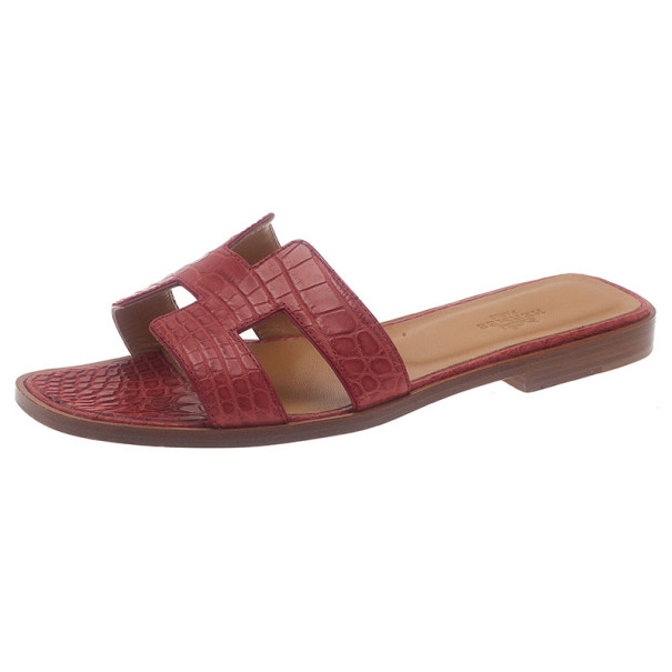 Buy Hermes Red Croc Embossed Oran Box Sandals Size 37 6500 at best price  067a237b78