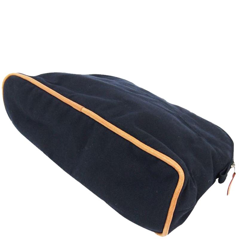 Hermes Navy Blue Cotton Medium Bolide Travel Case