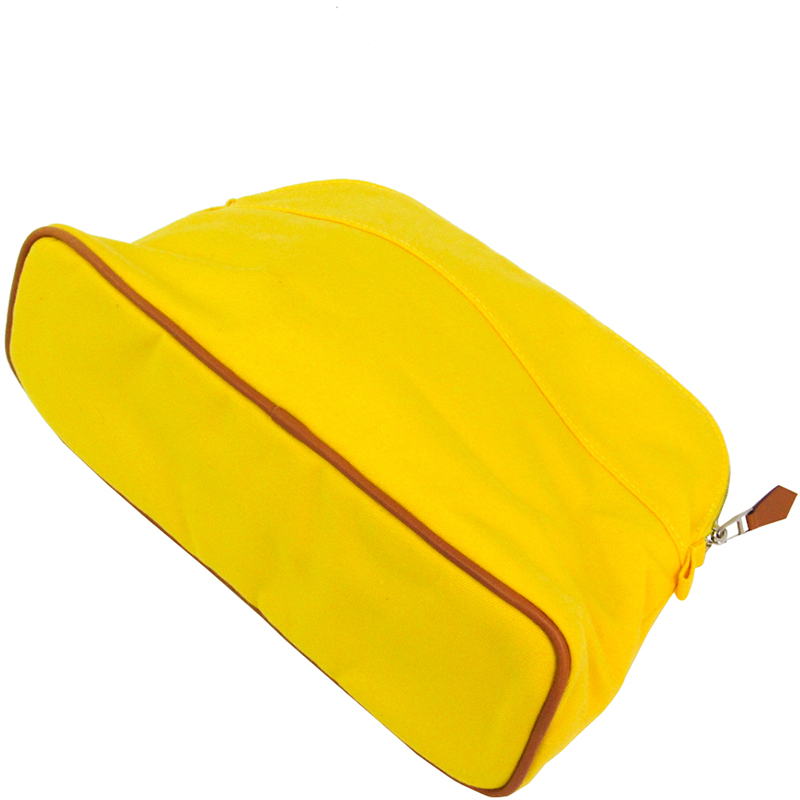Hermes Yellow Toile Canvas Bolide MM Pouch