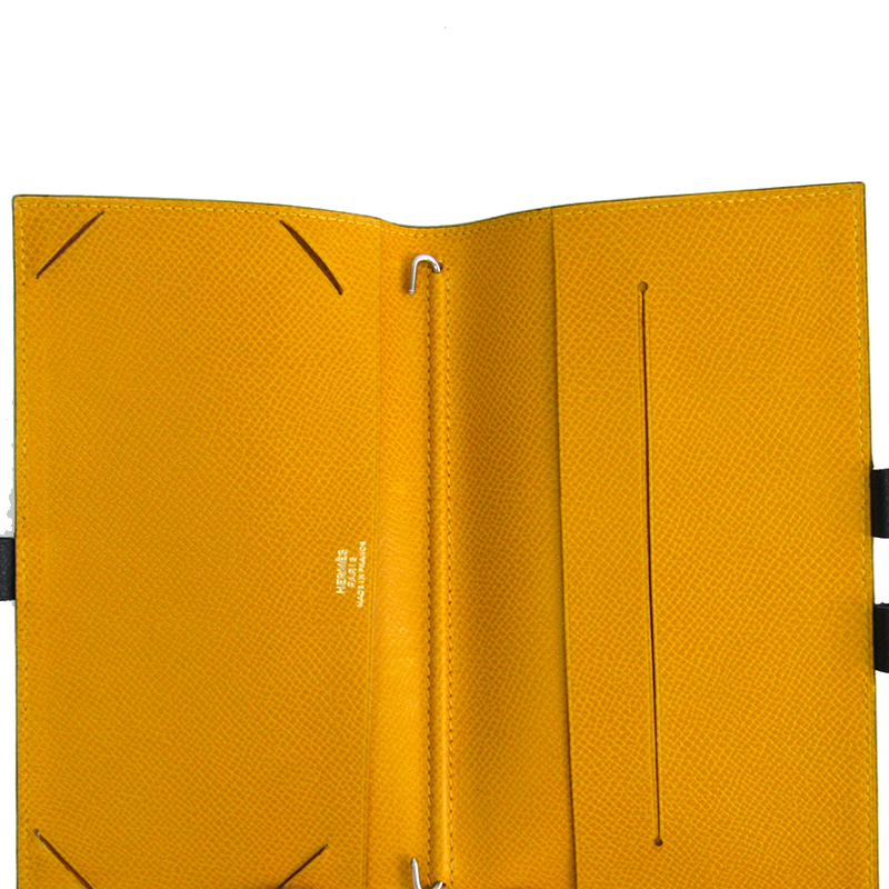 Hermes Navy/Yellow Leather Agenda Planner Cover, Navy blue