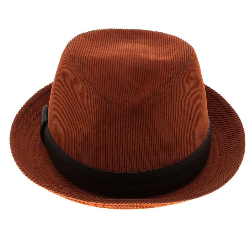 Hermes Burnt Orange Corduroy Leather Trim Detail Panama Hat Size 58