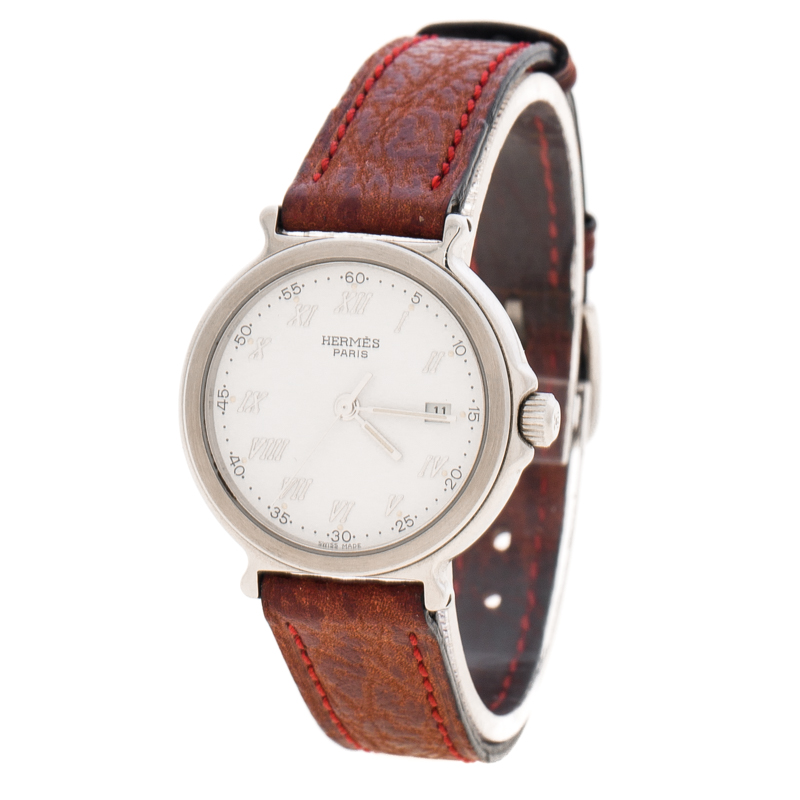 Hermes White Stainless Steel Leather Women's Wristwatch 27MM