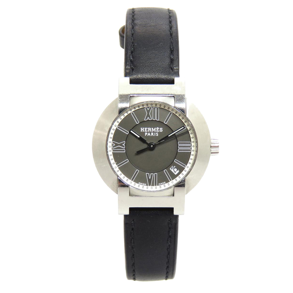 Pre-owned Hermes Black Stainless Steel Nomade Women's Wristwatch 26 Mm