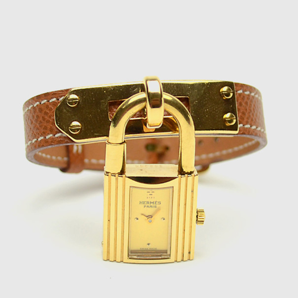 Hermes Brown Gold Plated Leather Kelly Womens Wristwatch 20 MM