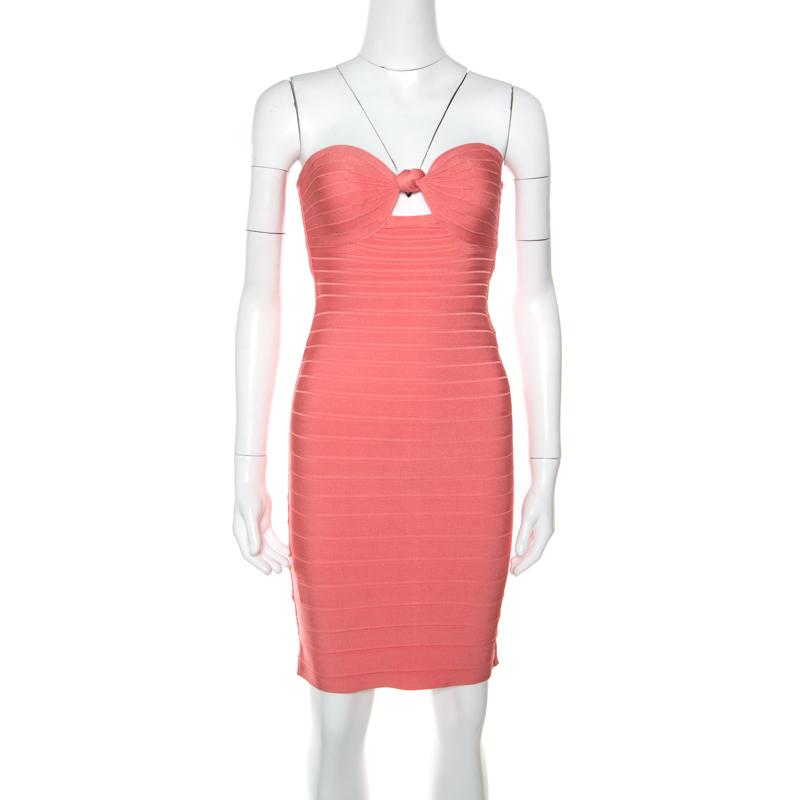 30e65fa18291 Buy Herve Leger Coral Pink Strapless Arabella Bandage Dress S 160661 ...