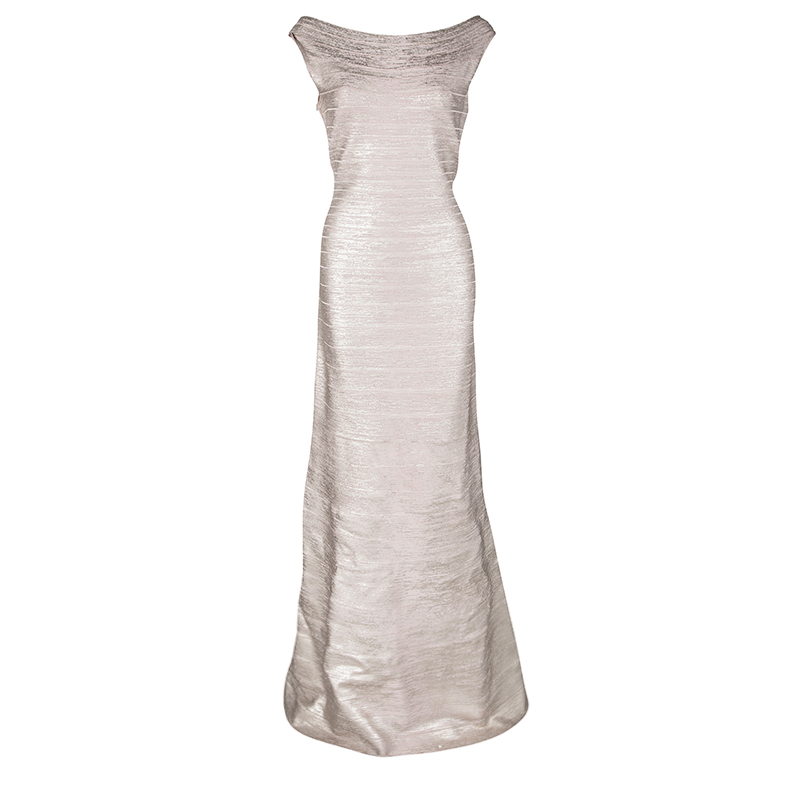 5a4fce8ce83a ... Herve Leger Foil Printed Rose Gold Knit Sophia Bandage Mermaid Gown L.  nextprev. prevnext