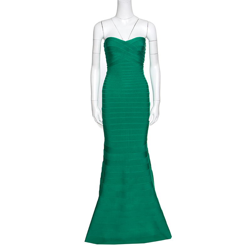 f8d97e2fe2aa Buy Herve Leger Green Opal Strapless Sara Bandage Gown XS 157935 at ...