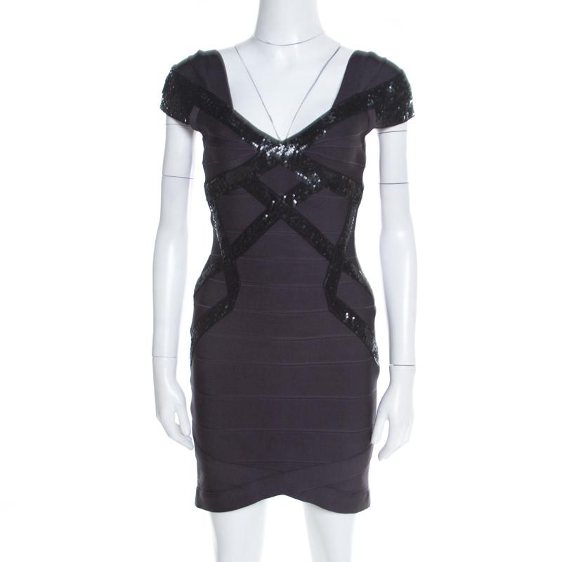 820924d6f43c7 ... Herve Leger Grey Sequin Embellished Cap Sleeve Diane Bandage Dress S.  nextprev. prevnext