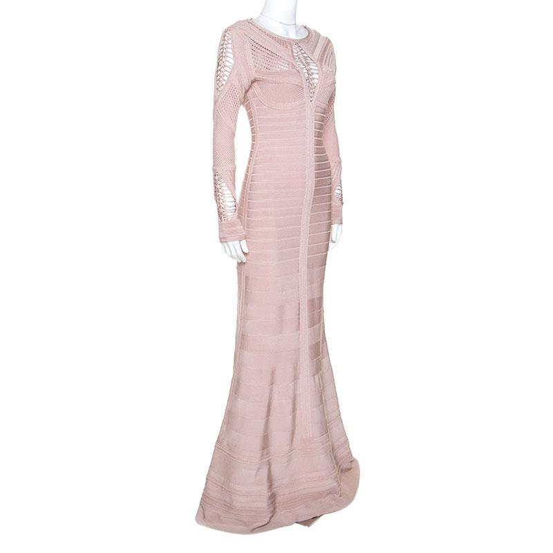 Herve Leger Dusky Pink Crochet Detail Augustina Gown