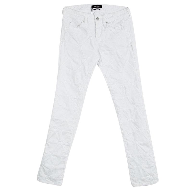 Купить со скидкой Isabel Marant White Diamond Patchwork Detail Denim Jeans S